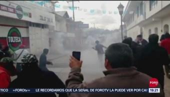 Foto: Enfrentamiento Destitución Autoridades Municipales Oxchuc Chiapas 20 Septiembre 2019