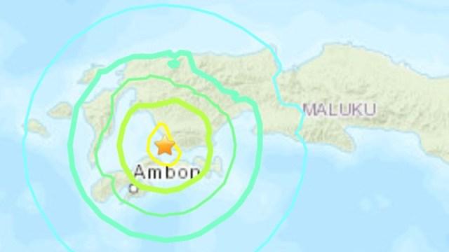 Foto: Un fuerte sismo de magnitud 6,5 golpeó este jueves las remotas islas Molucas, en el este de Indonesia, 25 de septiembre de 2019 (Twitter @SismoMundial)