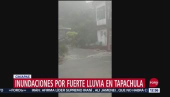 Se registran inundaciones por fuerte lluvia en Tapachula, Chiapas