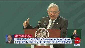 Se trabaja por lograr la seguridad en Sonora, dice AMLO