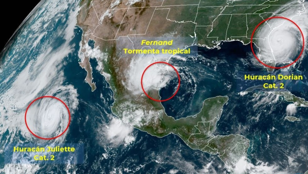 Foto: Mapa satelital tormenta Fernand, septiembre de 2019, México