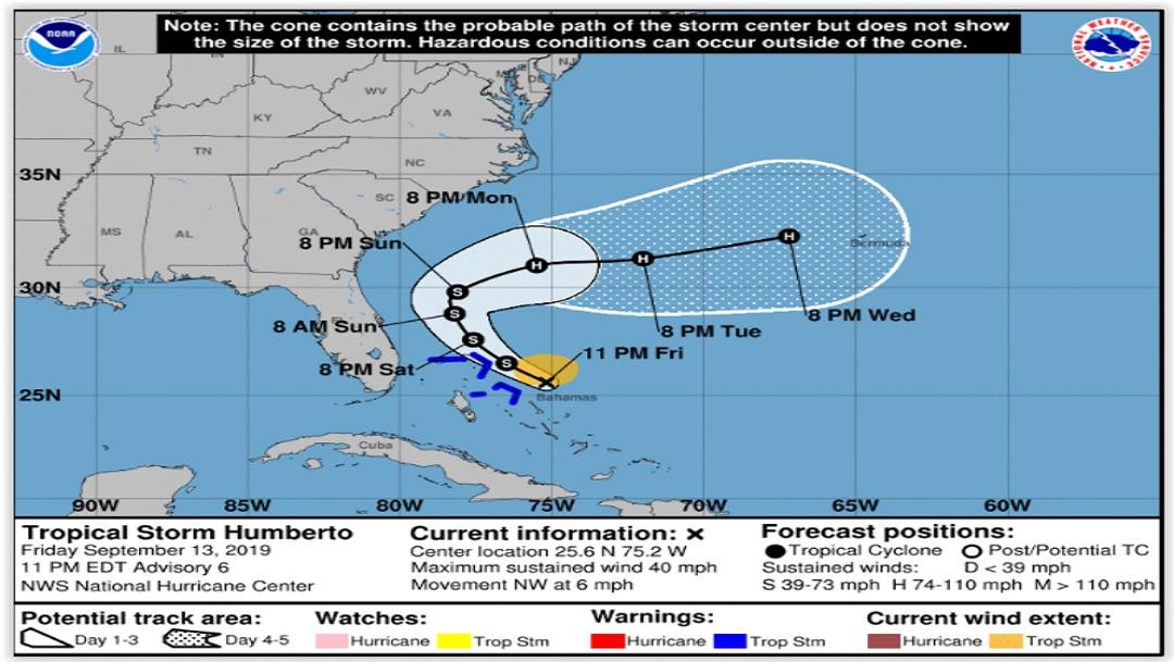 Se forma la tormenta tropical 'Humberto' y se dirige a Bahamas; podría convertirse huracán