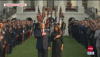 Trump guarda minuto de silencio por víctimas del 11S