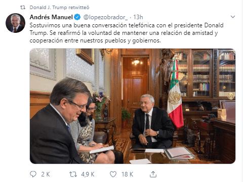 Foto Trump retuitea un mensaje de AMLO sobre su llamada telefónica 12 septiembre 2019