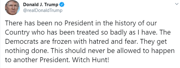 IMAGEN Tuit de Donald Trump donde denuncia cacería de brujas en su contra (Twitter)