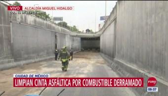 Vehículo derrama 300 litros de diésel en la alcaldía Miguel Hidalgo