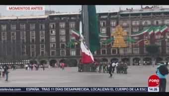 FOTO: Video Viento Dificulta Arriar Bandera Monumental Zócalo