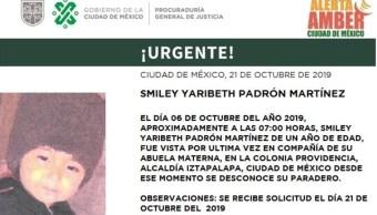 Foto: Alerta Amber para localizar a Smiley Yaribeth Padrón Martínez, 22 de octubre de 2019 (PGJCDMX)