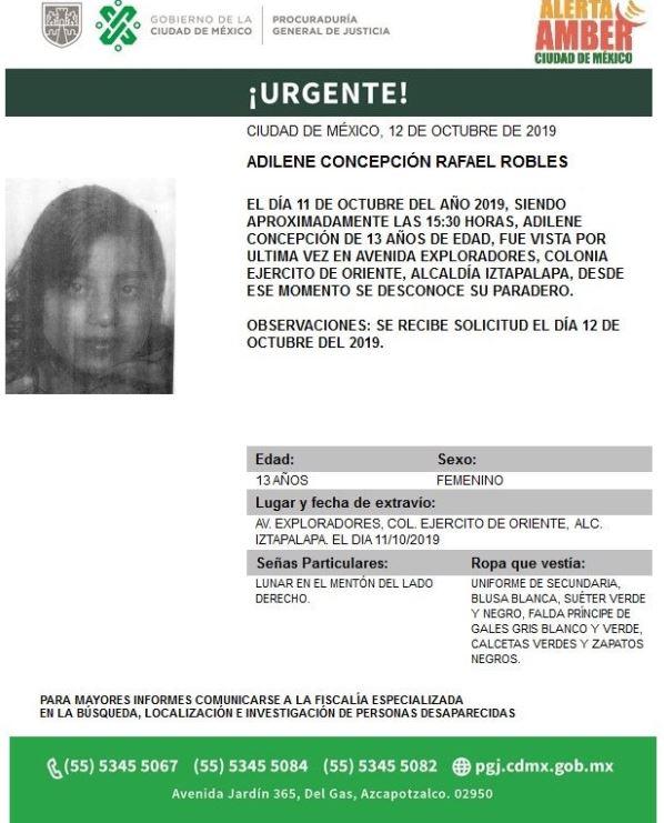 Alerta Amber localizar a Adeline Concepción Rafael Robles