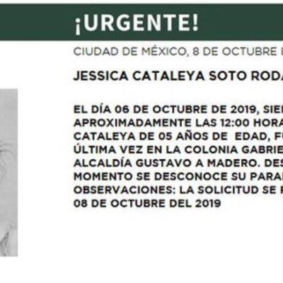 Alerta Amber: Ayuda a localizar a Jessica Cataleya Soto Rodas