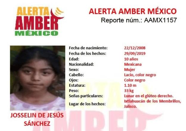 IMAGEN Alerta Amber por Josselin de Jesús Sánchez (Twitter)