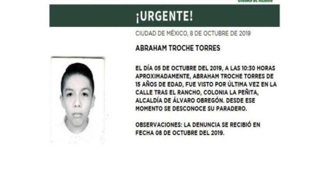 Foto Alerta Amber para localizar a Abraham Troche Torres