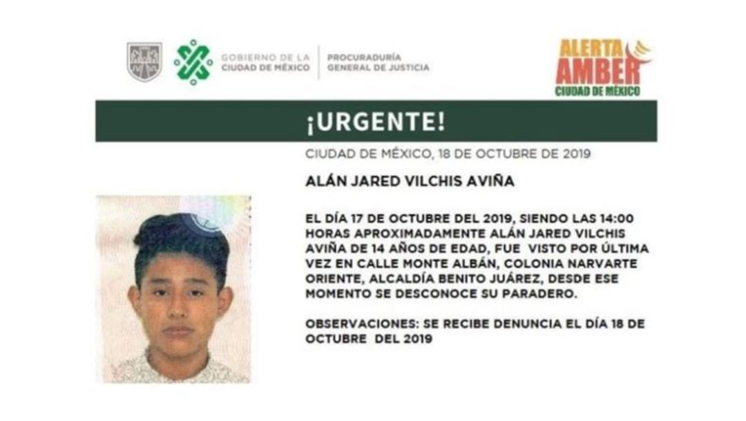 Foto Alerta Amber: Ayuda a localizar a Alán Jared Vilchis Aviña
