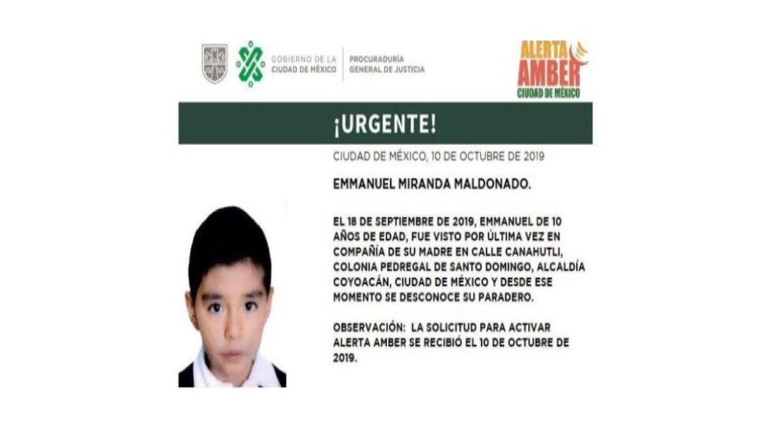 Foto Alerta Amber para localizar a Emmanuel Miranda Maldonado