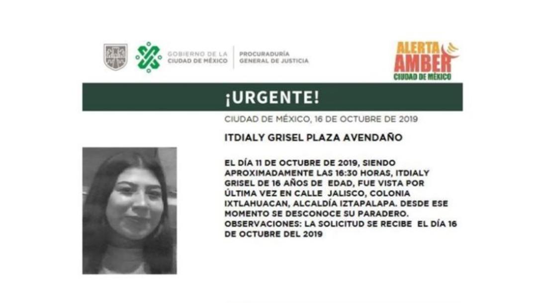 Foto Alerta Amber para localizar a Itdialy Grisel Plaza Avendaño
