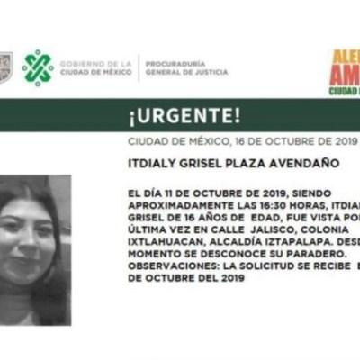 Alerta Amber: Ayuda a localizar a Itdialy Grisel Plaza Avendaño