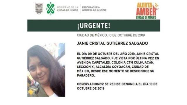 Foto Alerta Amber para localizar Janie Cristal Gutiérrez Salgado