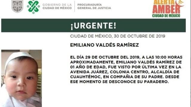 Foto: Alerta Amber: Emiliano Valdés Ramírez, 30 de octubre de 2019 (Twitter @PGJDF_CDMX)