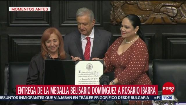AMLO entrega la Medalla Belisario Domínguez a Rosario Ibarra