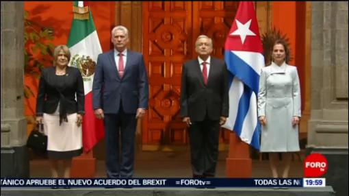 Foto: Amlo Recibe Presidente Cuba Palacio Nacional 17 Octubre 2019