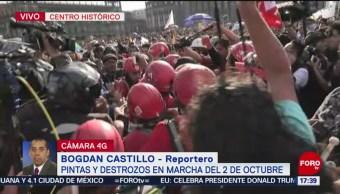 FOTO: Anarquistas Intentan Agredir Medios Comunicación Zocalo CDMX