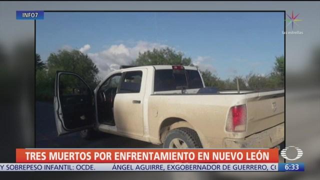 Balacera en Nuevo León deja tres delincuentes muertos