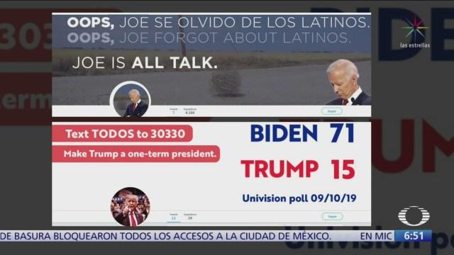 Campañas de Trump y Biden se enfrentan en redes sociales
