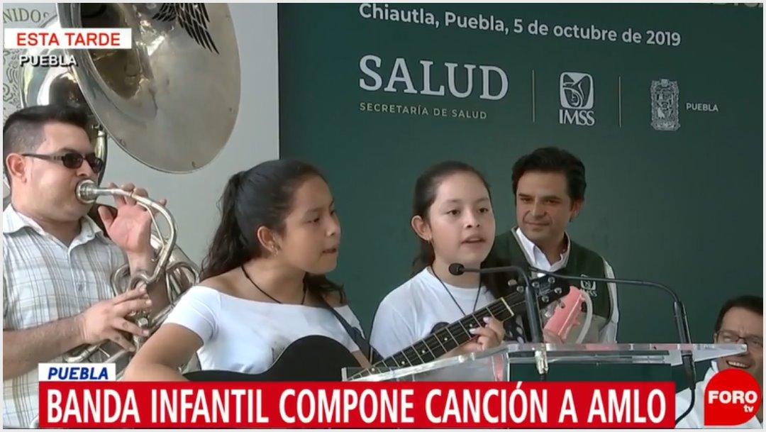 Fotos: Dos niñas le compusieron una canción a AMLO y se la cantaron en Puebla, 5 de octubre de 2019 (Foro TV)