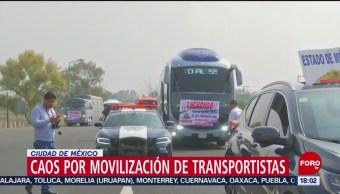 FOTO: Caos vial por movilización transportistas CDMX