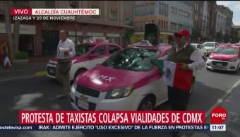 Caravana de taxistas que salió de Tlalpan llega al centro de la CDMX