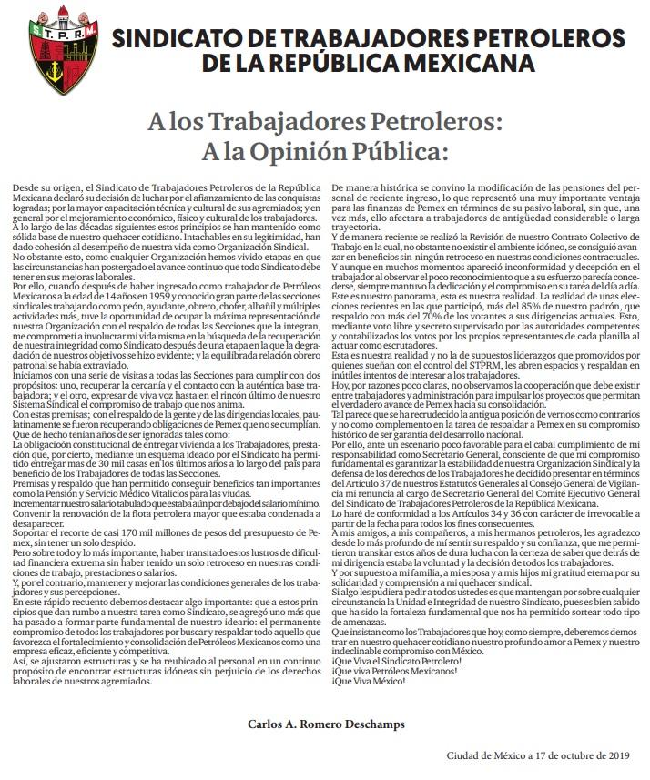 FOTO: Carta Integra de Romero Deschamps explicando los motivos de su renuncia al STPRM