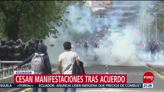 Foto: Cesan Manifestaciones Acuerdo Ecuador 14 Octubre 2019