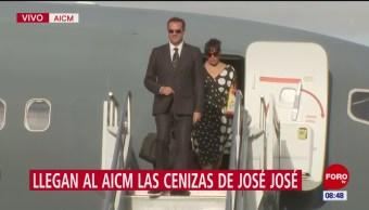 Descienden del avión hijos de José José