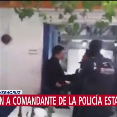 Detienen a comandante de la Policía Estatal en Veracruz