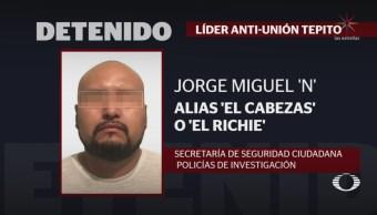 Foto: Detienen Xochimilco El Cabezas Líder Anti-Unión Tepito 17 Octubre 2019