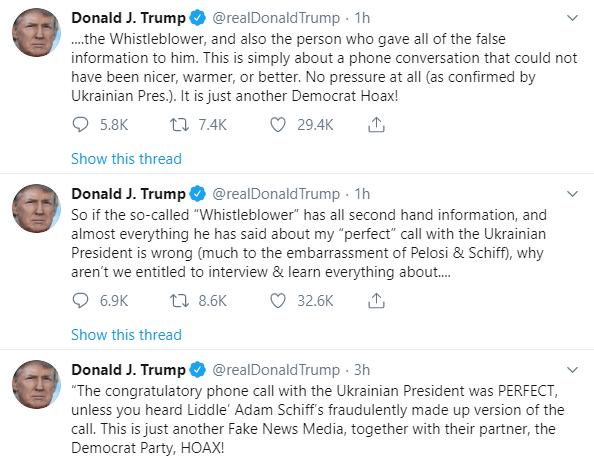 IMAGEN Tuits de Donald Trump sobre la llamada con el presidente de Ucrania (Twitter)