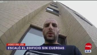 #ElVideodelDía: Escaló el edificio sin cuerdas