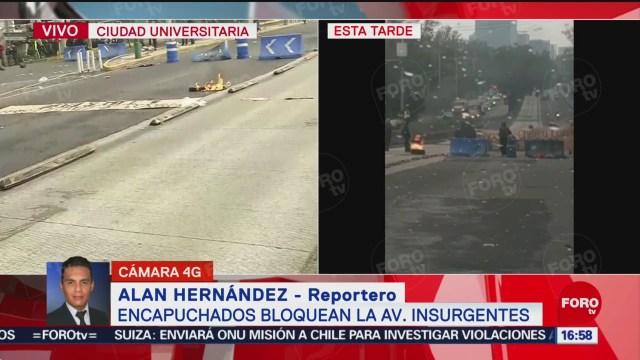FOTO: Encapuchados Vandalizan Camión Cierran Insurgentes Sur