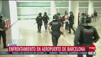 Enfrentamiento en aeropuerto de Barcelona, España