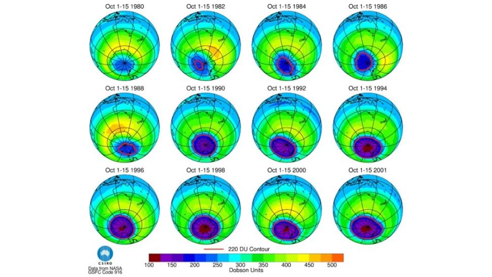 Foto: Evolución del agujero en la capa de ozono, durante 21 años, 18 de septiembre de 2002