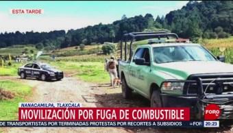 FOTO: Fuga de combustible en Nanacamilpa, en Tlaxcala, 5 octubre 2019