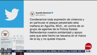 FOTO: Guardia Nacional SSC condenan asesinatos policías Michoacán