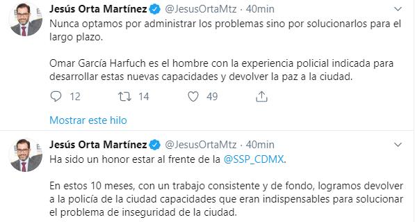 IMAGEN Renuncia Jesús Orta a Policía CDMX (Twitter)