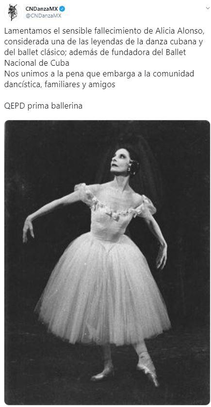 Foto Compañía Nacional de Danza de México lamenta la muerte de Alicia Alonso