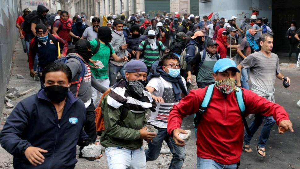 Foto: Manifestantes en Ecuador, 9 de octubre de 2019