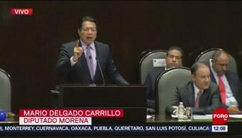 Mario Delgado responde a Alfonso Durazo durante comparecencia ante diputados