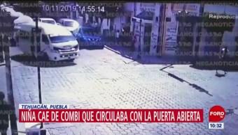 Niña cae de transporte público en Tehuacán, Puebla