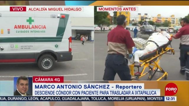 Paciente es trasladado en helicóptero a Ixtapaluca