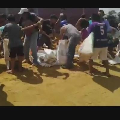 Pobladores en Campeche saquean de tráiler 50 toneladas de comida para animales