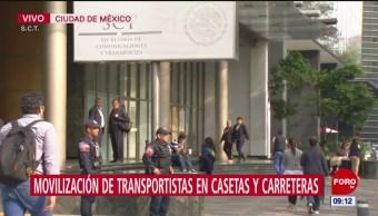 Policía Federal resguardan sede de SCT por movilización de transportistas